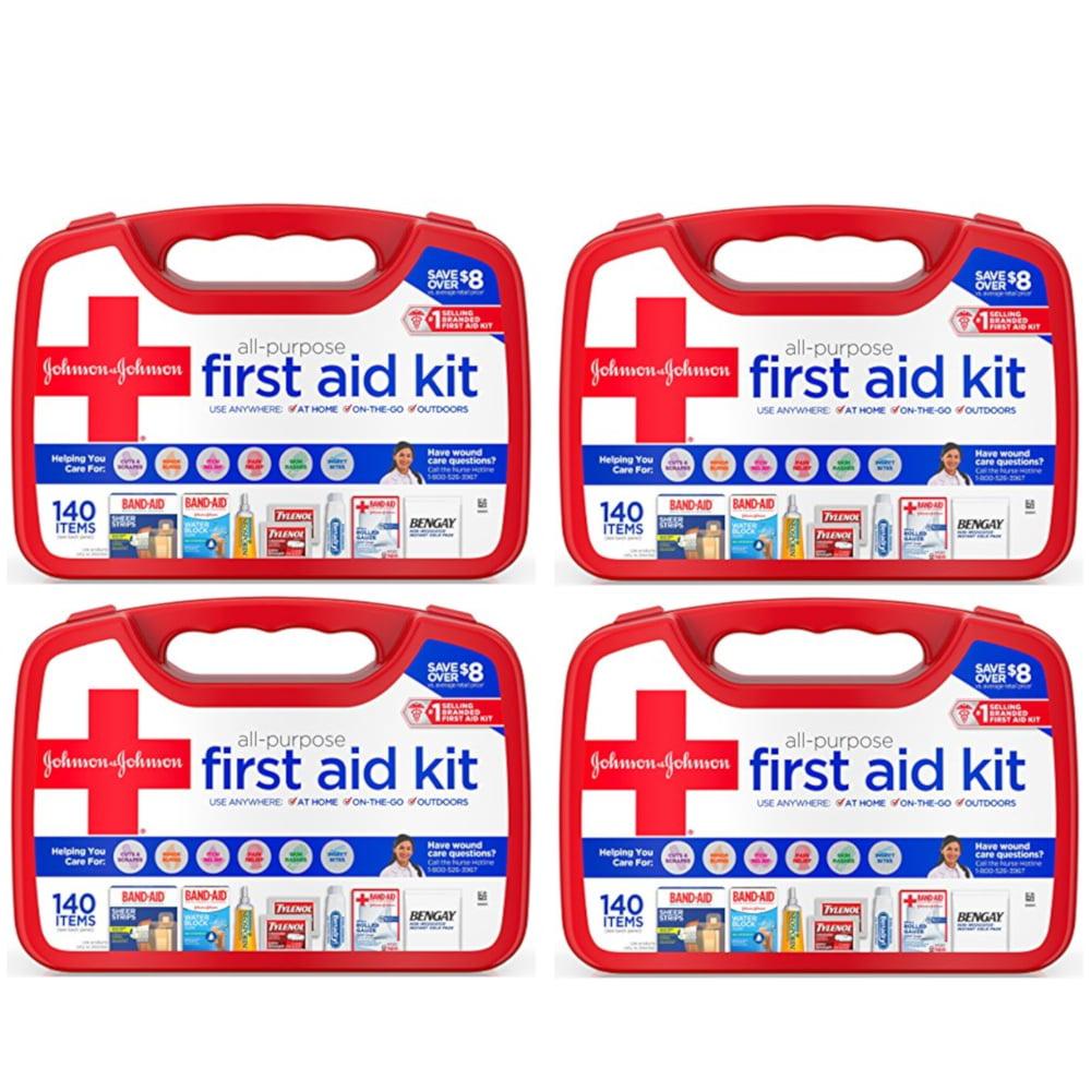 4 Pk Johnson & Johnson All Purpose First Aid Kit Emergency Survival Gear 140 Pc