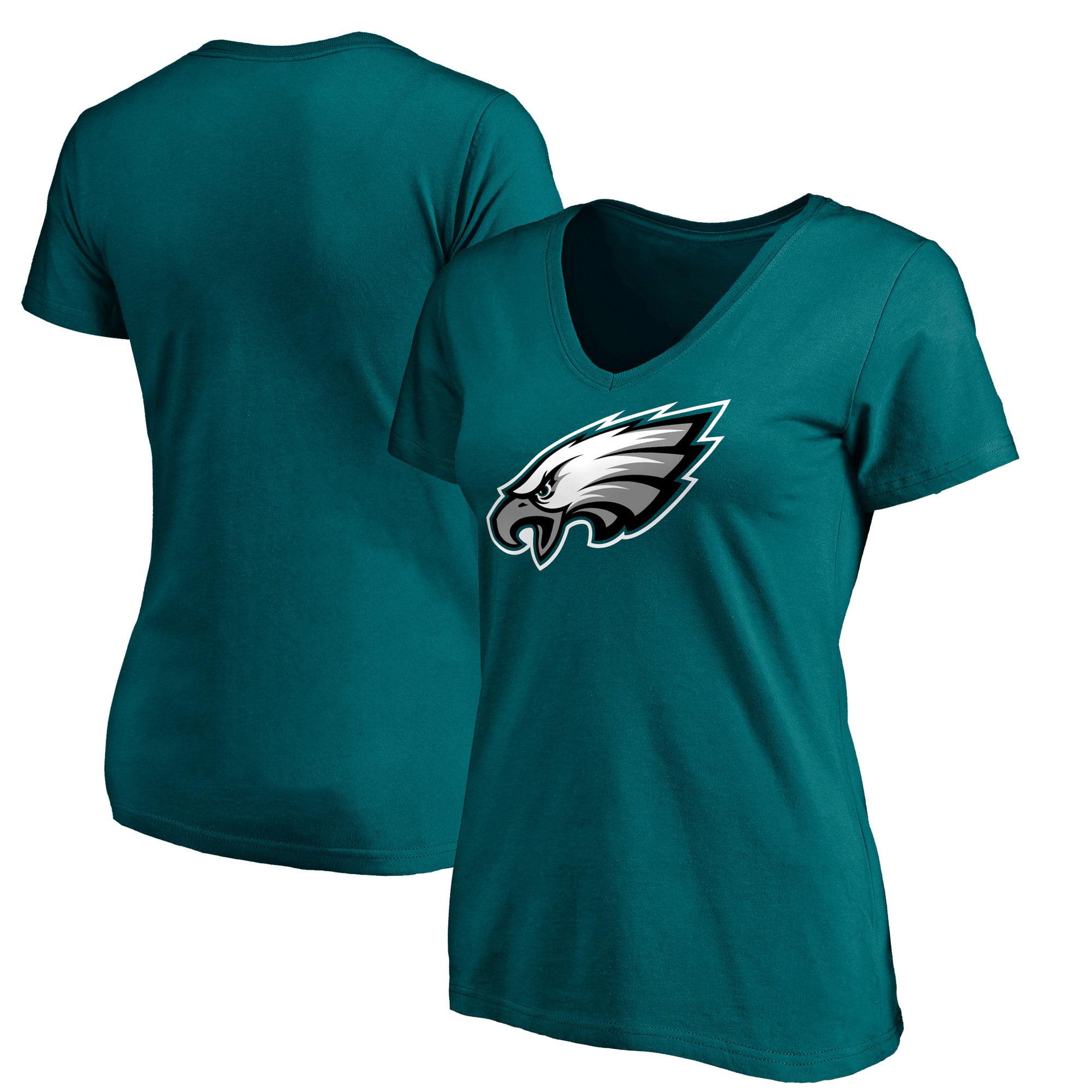 Philadelphia Eagles NFL Pro Line Women's Primary Logo V-Neck T-Shirt - Midnight Green