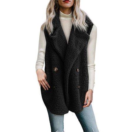 - Womens Ladies Fleece Fur Sleeveless Cardigan Gilet Waistcoat Long Coat Jacket