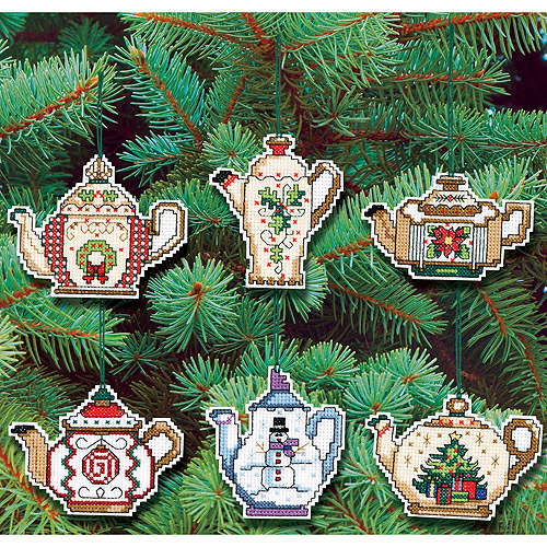 "Christmas Teapot Ornaments 14-Count Cross-Stitch Kit, 3"", Set Of 6"