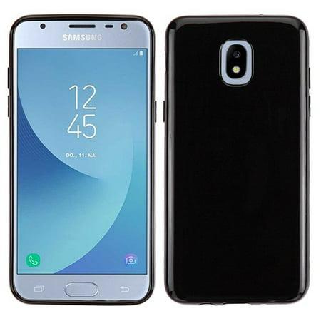 Phone Case for Samsung Galaxy J3 2018, J337, J3 V 3rd Gen, J3 Star, J3 Achieve, Express Prime 3 - Case Slim Thin Hybrid Candy Silicone Rubber Gel Soft Protective Case Cover Jet Black Black Silicone Soft Rubber