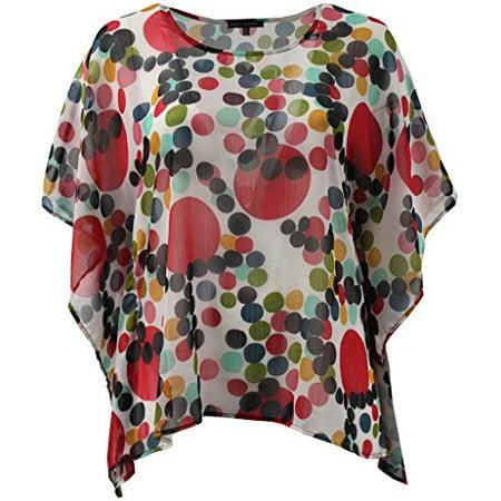 c8baf0d1b92 BNY Corner - Women s Plus-Size Draped Half Sleeve Multi Color Design Blouse  Tee Shirt Top Polka Dot 1X G160.31L - Walmart.com