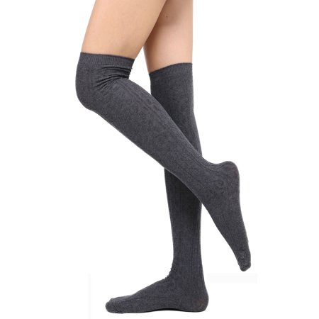 Knee High Socks Womens Cable Knit Winter Thigh High Stockings Dark - Womens Thigh High Socks