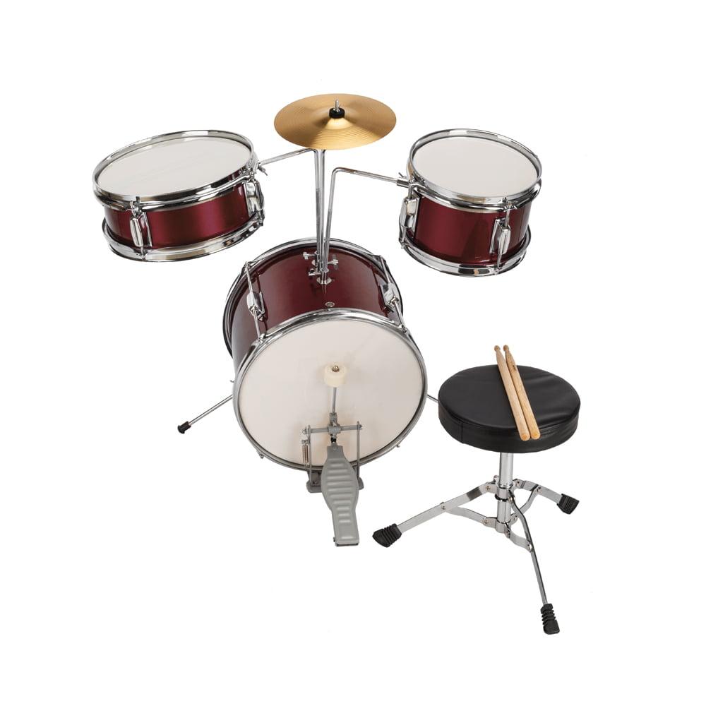 "13""x8"" 3-Pieces Junior Kids Child Drum Set Kit Pedal Drum Stick Wrench Drum Stool Wine Red by"