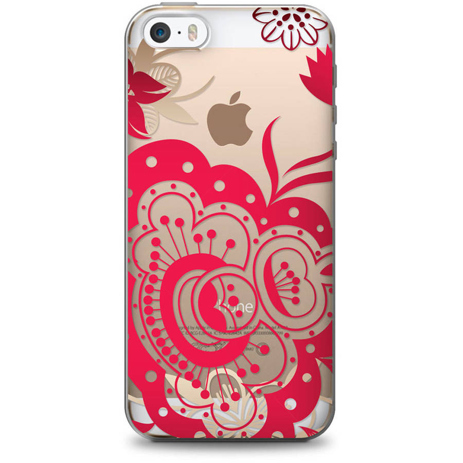 OTM Floral Prints Clear Phone Case for Apple iPhone 6, Red