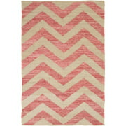3.5' x 5.5' Twin Chevrons Coral Pink and Cream Reversible Hand Loomed Recycled Denim Throw Rug