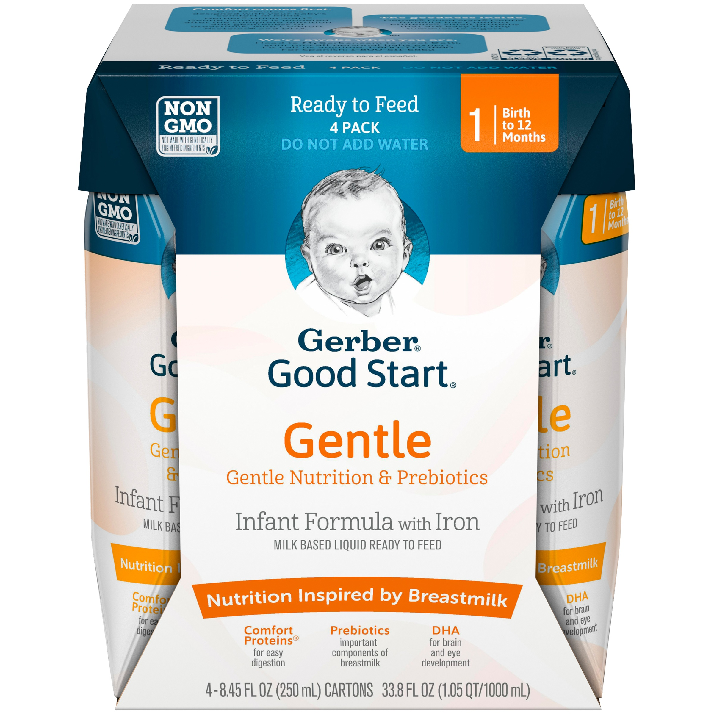 Gerber Good Start Gentle Non-GMO Ready to Feed Infant Formula, Stage 1, 8.45 fl. oz. (Pack of 4)