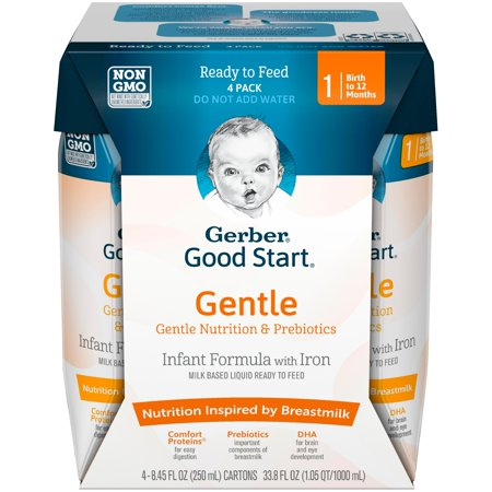 Gerber Good Start Gentle Non-GMO Ready to Feed Infant Formula, Stage 1, 8.45 fl oz, 4 count