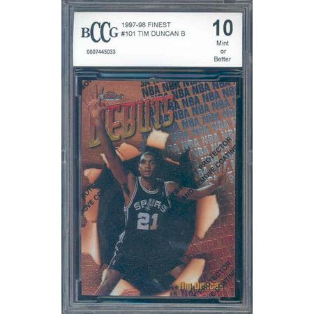 1997-98 finest #101 TIM DUNCAN rookie w/peel BGS BCCG