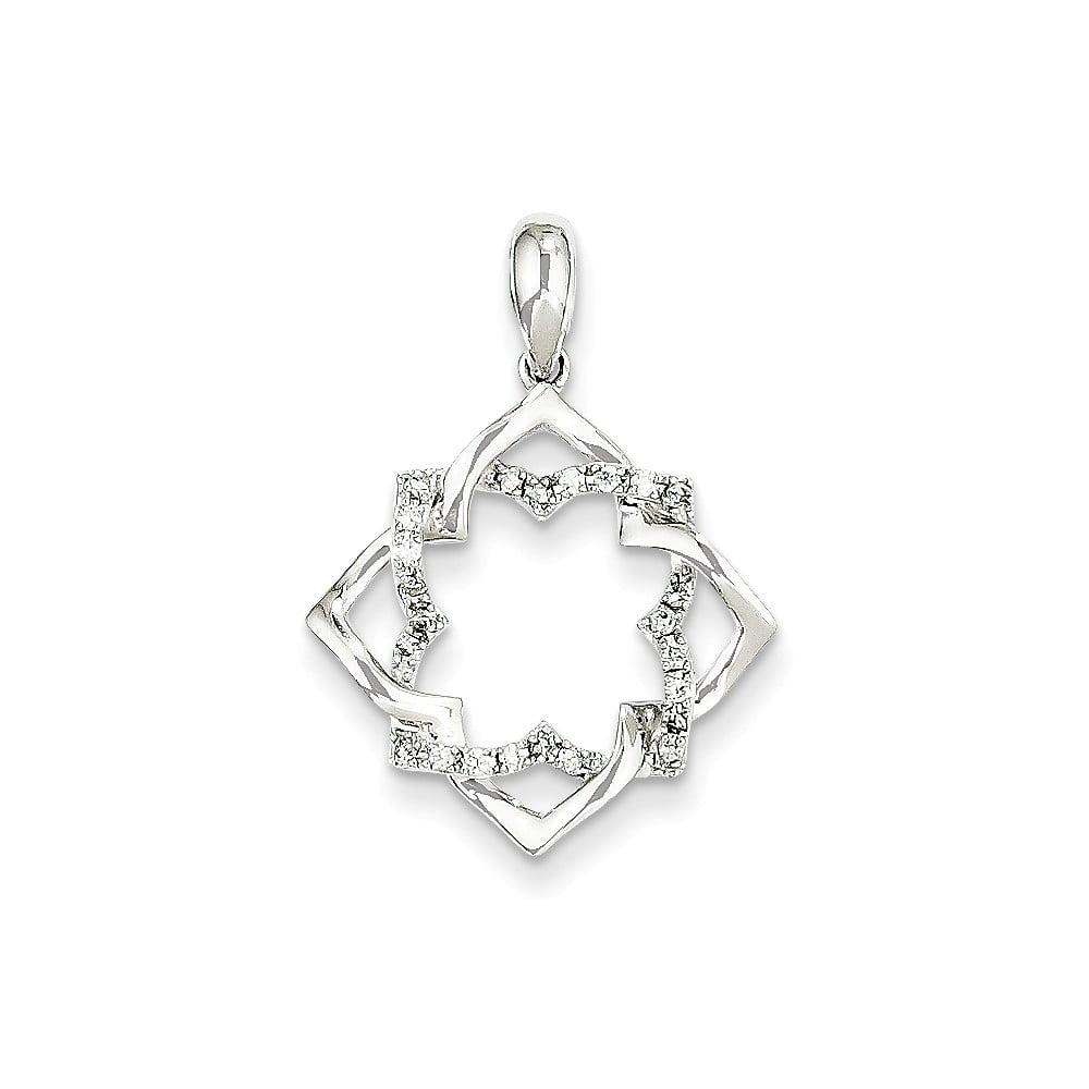 14K White Gold & Diamond Pendant. Carat Wt- 0.12ct