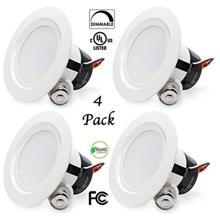4 Pack Bioluz LED 11 Watt 4-inch UL-listed Dimmable Retrofit LED Recessed Lighting Fixture - 3000K LED Ceiling Light - 650 LM Recessed Downlight (non-beveled)