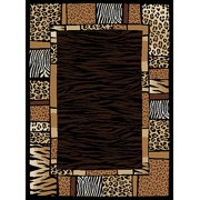 Creative Home Safari Area Rugs - 4255-90 Animal Prints Bordered Patchwork Leopard Tiger Rug