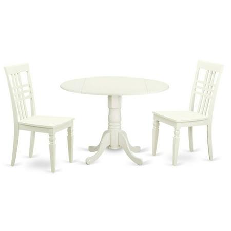 Cherry Dinette - East West Furniture 3 Piece Triple Crossback Drop Leaf Dinette Dining Table Set
