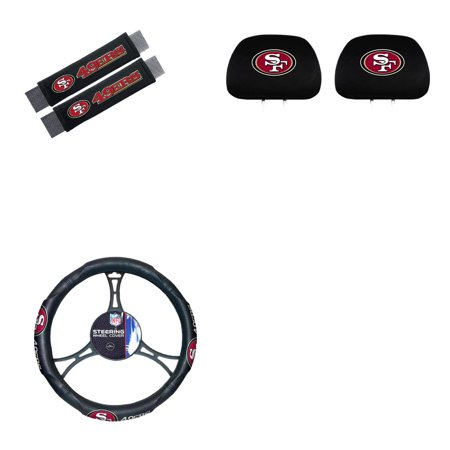 San Fransisco 49ers 2 Head Rest Covers And 2 Shoulder Pads With Wheel Cover