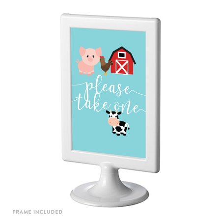Please Take Just One Halloween Sign (Red Farmhouse Barnyard Birthday, Framed Party Sign, Double-Sided 4x6-inch, Please Take One, Includes Reusable)