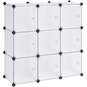 SONGMICS Cube Storage Organizer, 9-Cube DIY Plastic Closet Cabinet, Modular Bookcase, Storage Shelving with Doors for Bedroom, Living Room, Office, 36.6 x 12.2 x 36.6 Inches, White ULPC116WSV1