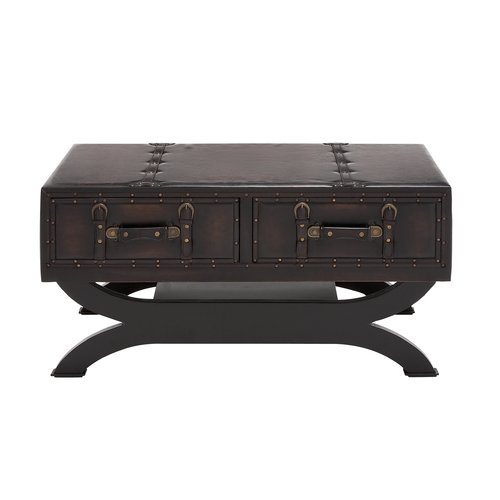 Decmode Wood and Leather Coffee Table, Brown