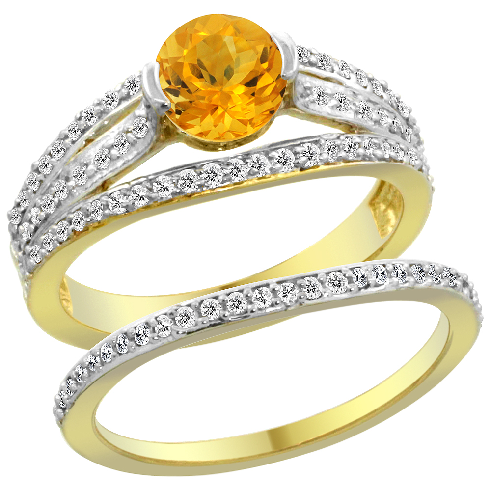 14K Yellow Gold Natural Citrine 2-piece Engagement Ring Set Round 6mm, size 5.5 by Gabriella Gold