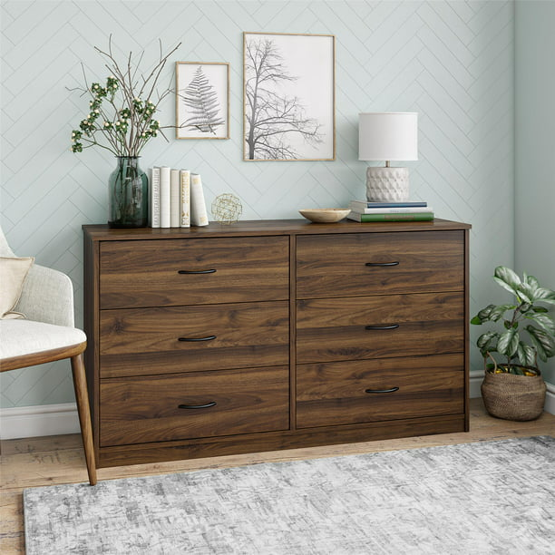 mainstays classic 6 drawer dresser walnut