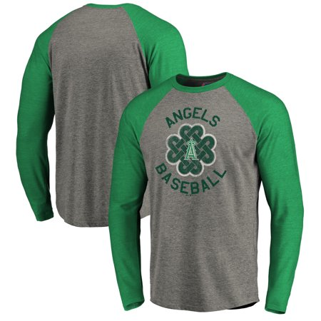 Majestic Angel Fish - Los Angeles Angels Majestic Luck Tradition Long Sleeve Tri-Blend Raglan T-Shirt - Heathered Gray
