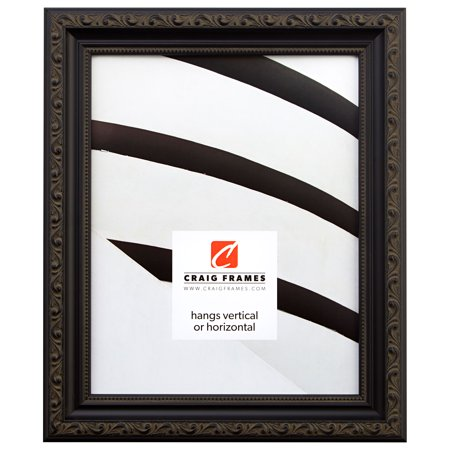Craig Frames Ancien, Ornate Antique Black Picture Frame, 11 x 17 Inch