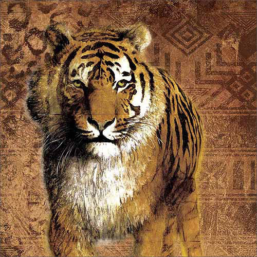 Safari Traditional Tiger Tribal Pattern Texture Painting Tan & Brown Canvas Art by Pied Piper Creative