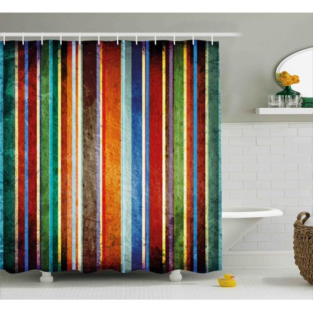 Stripes Shower Curtain Vertical Lined Colorful Retro Bands With Damage Effects Old Fashion Weathered Display