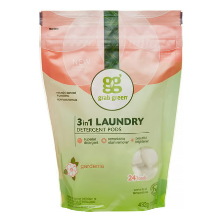 Grab Green Natural 3 in 1 Laundry Detergent Pre-Measured Powder Pods, Gardenia, 24 Loads