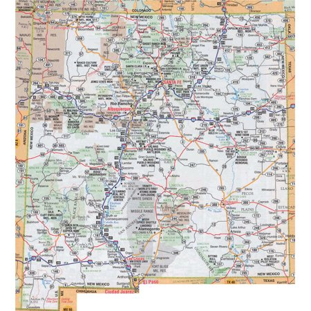 Laminated Map - Large detailed roads and highways map of New Mexico state with national parks and cities Poster 24 x (Sylvia Park Map)