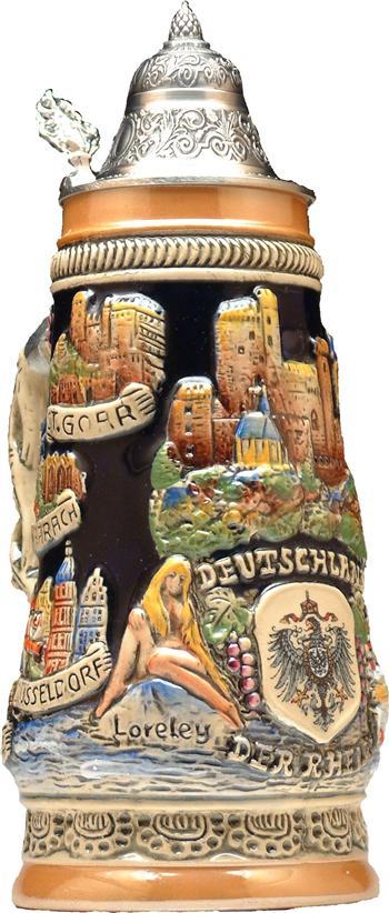 Beer Steins by King Rhine (Rhein) River Landmarks Relief Beer Stein (Beer Mug) Limited... by King Werke Germany