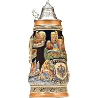 Beer Steins by King Rhine (Rhein) River Landmarks Relief Beer Stein (Beer Mug) Limited Edition by King Werke Germany