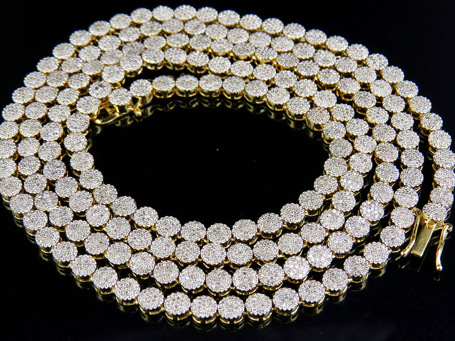 """10K Yellow Gold Diamond Cluster 4 MM Pave Chain Necklace 9ct 30"""" by Jewelry Unlimited"""