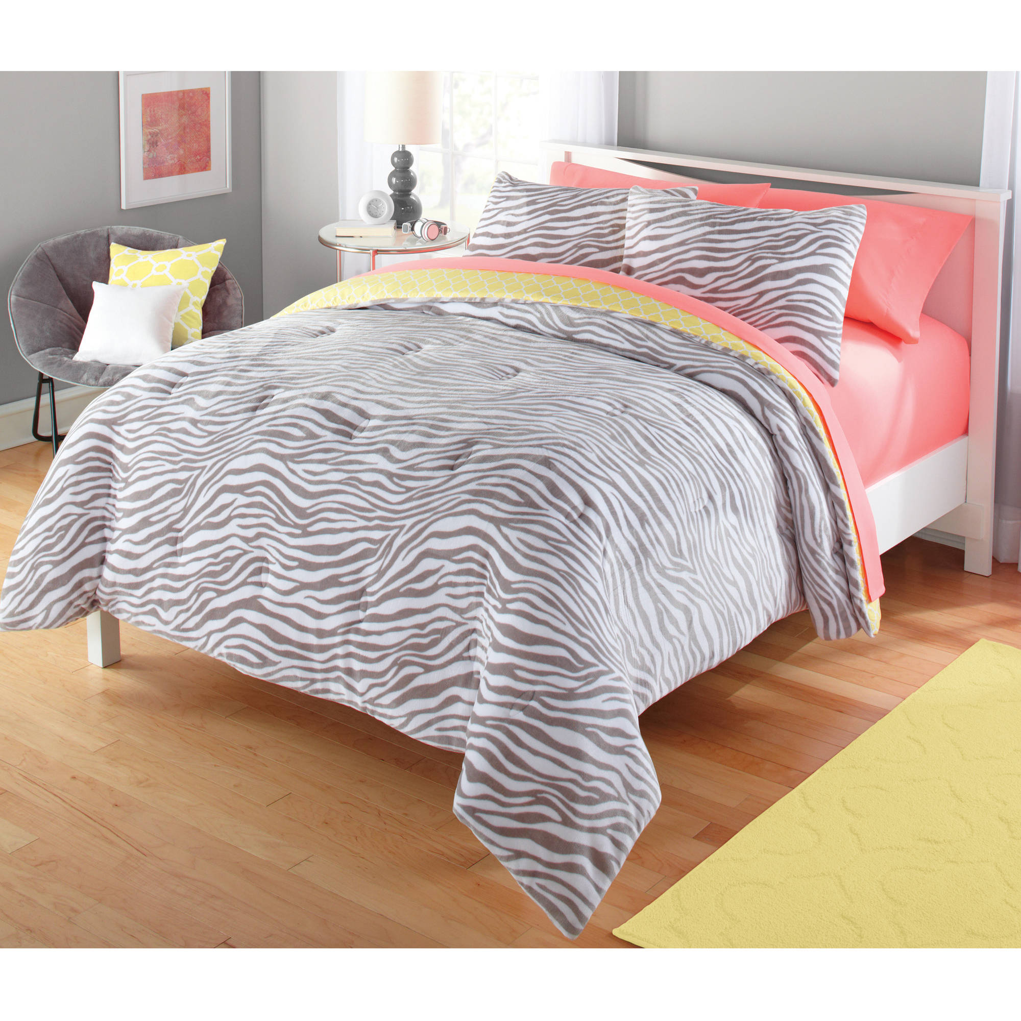 Your Zone Gray & Yellow Zebra Comforter Set, 1 Each