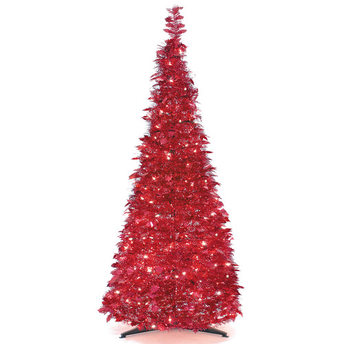 LB International Popup Tinsel 4' Christmas Tree with 100 UL Single Colored Lights