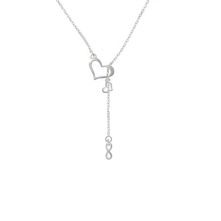 - Silvertone Mini Infinity Sign - In My Heart Lariat Necklace