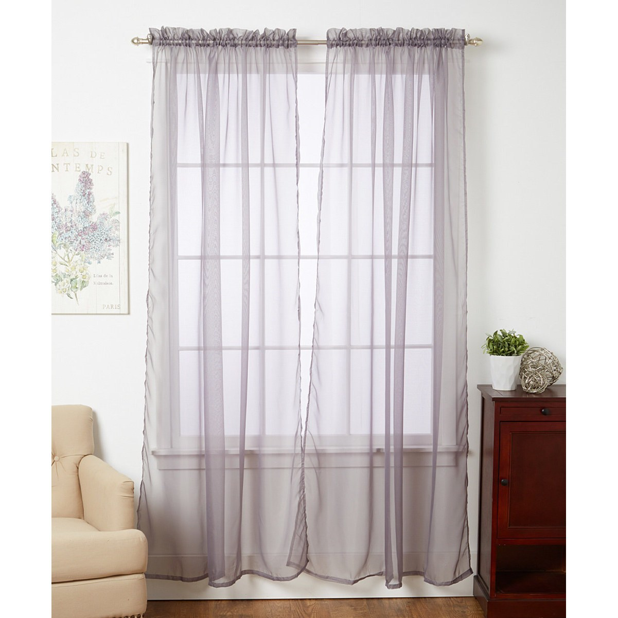J TEXTILES Linda Sheer Voile 4 Pack Window Curtain Panel ...