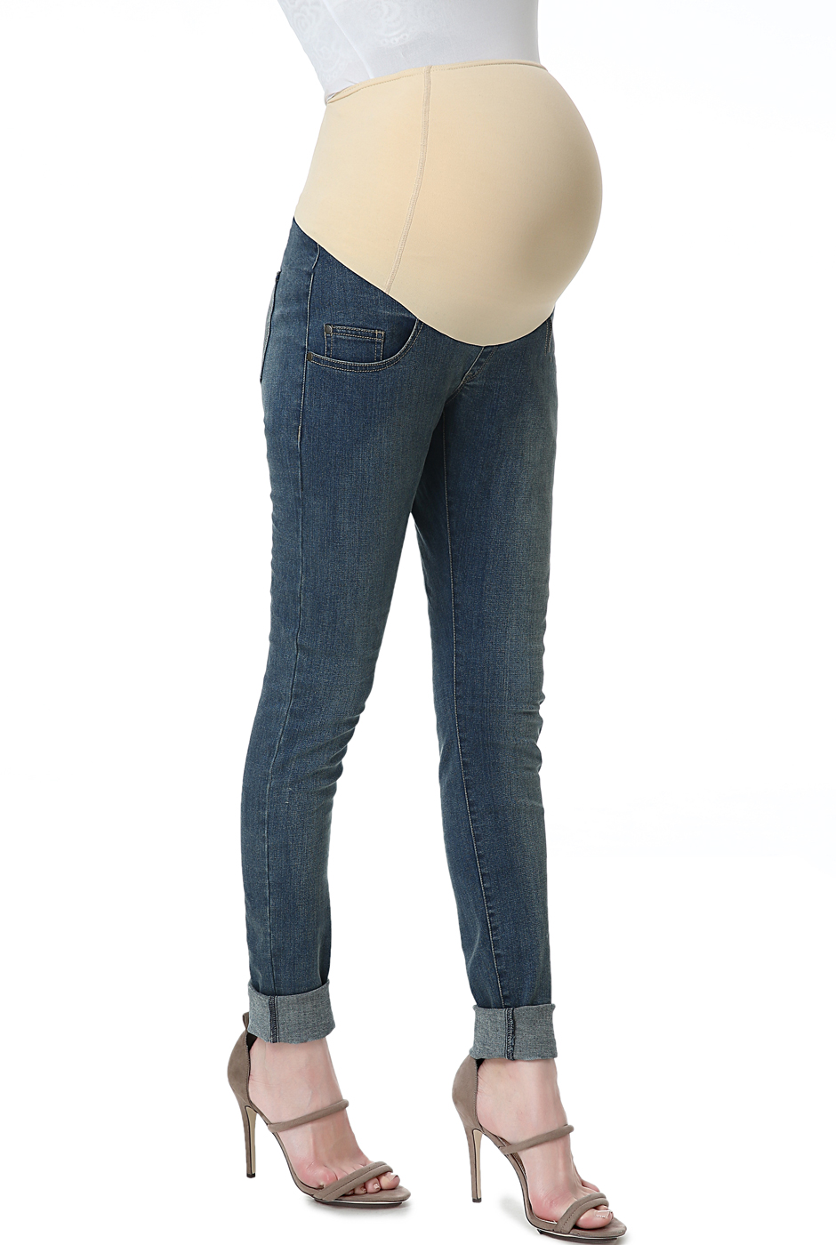 Maternity Women's Skinny Leg Denim Jeans - Medium Indigo 28