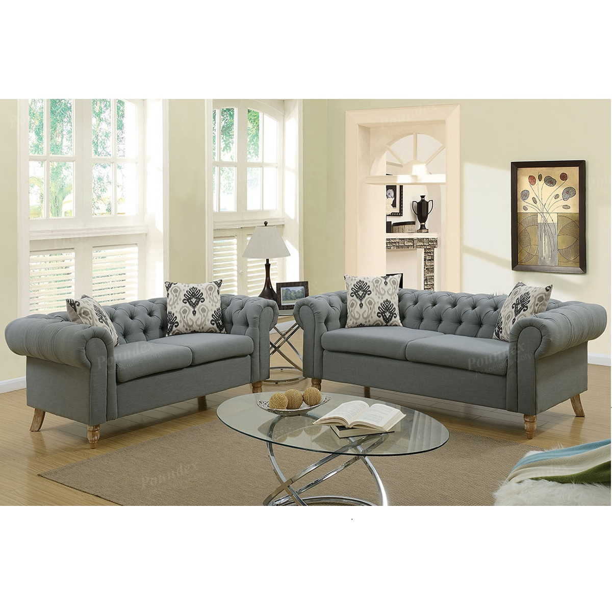 Advanced Plush Polyfiber Scroll Arm Tufted Button Chesterfield Style Sofa, Ash Black