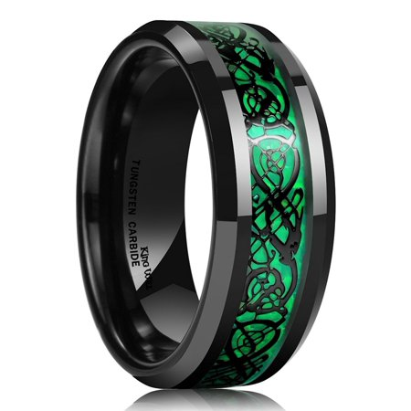 Tungsten Ring For Men 8mm Celtic Dragon Wedding Band 8.5 (Celtic Weave Band)