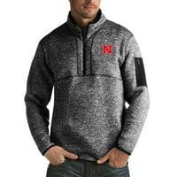Nebraska Cornhuskers Antigua Fortune Big & Tall Quarter-Zip Pullover Jacket - Black