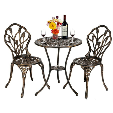 European Tulip Outdoor Wrought Iron Table And Chair TThree PCS Bronze