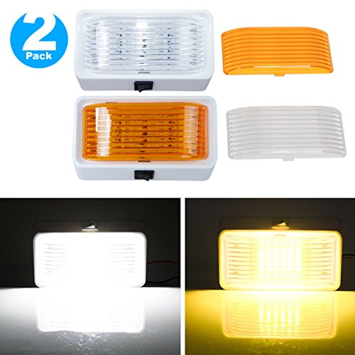 Leisure LED RV Exterior Porch Utility Light with Switch 5th Wheels Campers White Base Replacement Lighting for RVs 12v 280 Lumen Lighting Fixture Trailers Clear and Amber Lens White, 1-Pack
