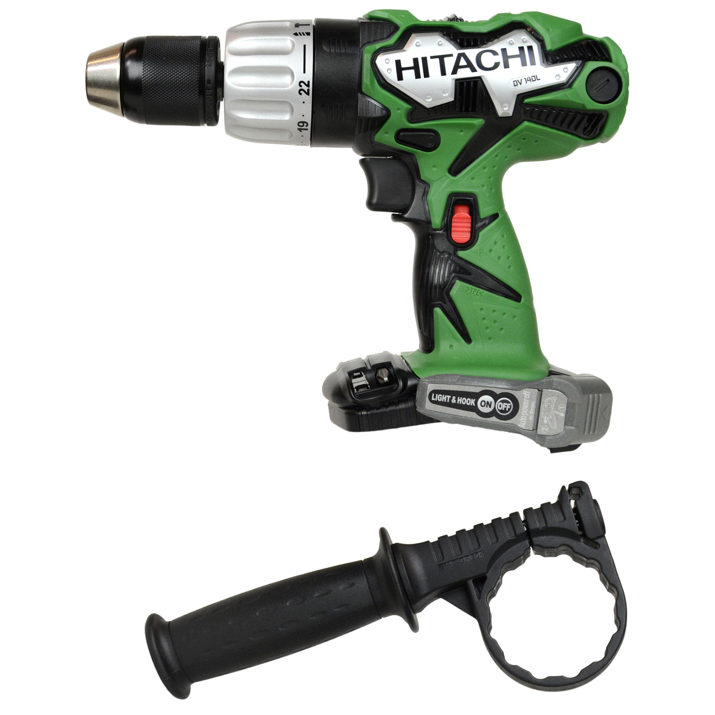 Hitachi DV14DL 14.4V Hammer Drill Driver with Side Handle, Tool Only