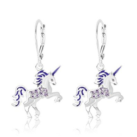 Children S Earrings White Gold Tone Purple Enamel Unicorn Crystal With Silver Leverbacks Baby