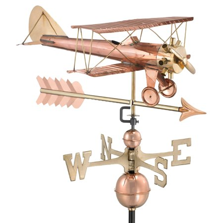 - Good Directions Biplane with Arrow Weathervane, Pure Copper - 26