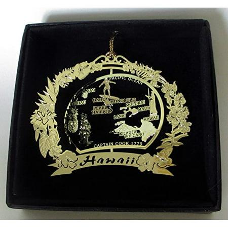 Hawaii Brass Christmas Ornament Black Leatherette Gift Box