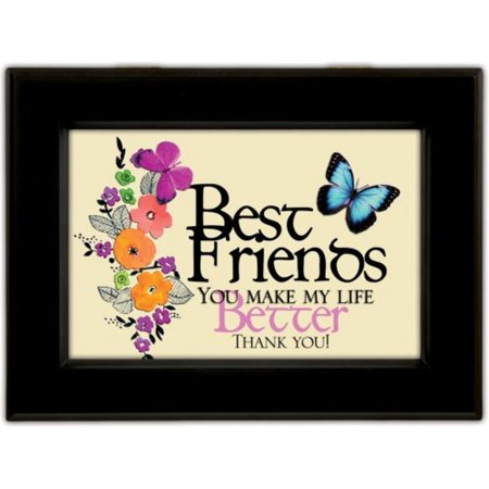 Best Friends Black Cottage Garden Traditional Music Box Plays Thats What Friends Are For