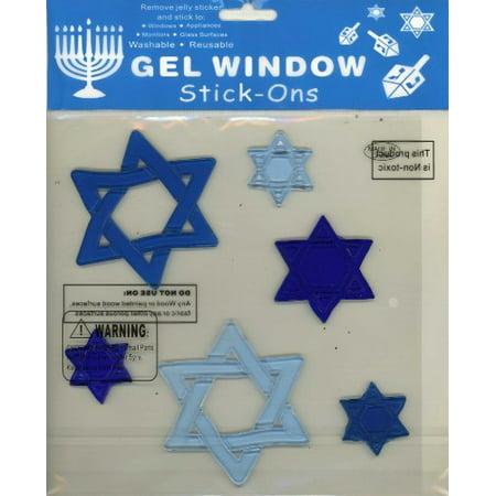 Assorted Star of David Hanukah Gel Window Clings