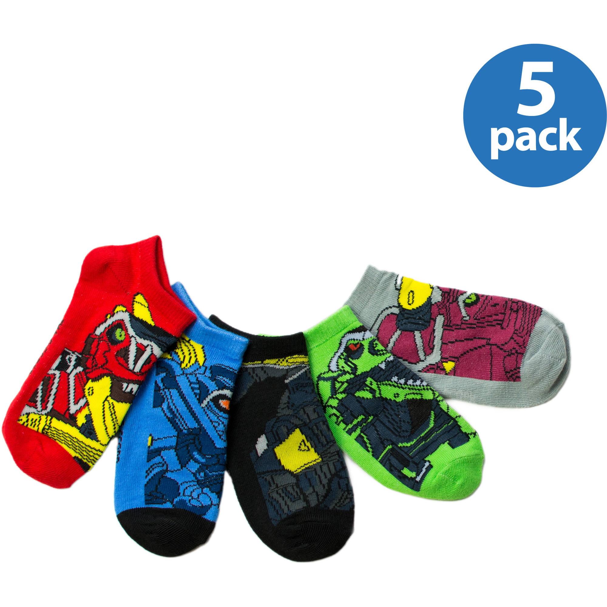 Power Ranger Boys No Show Socks, 5 Pack