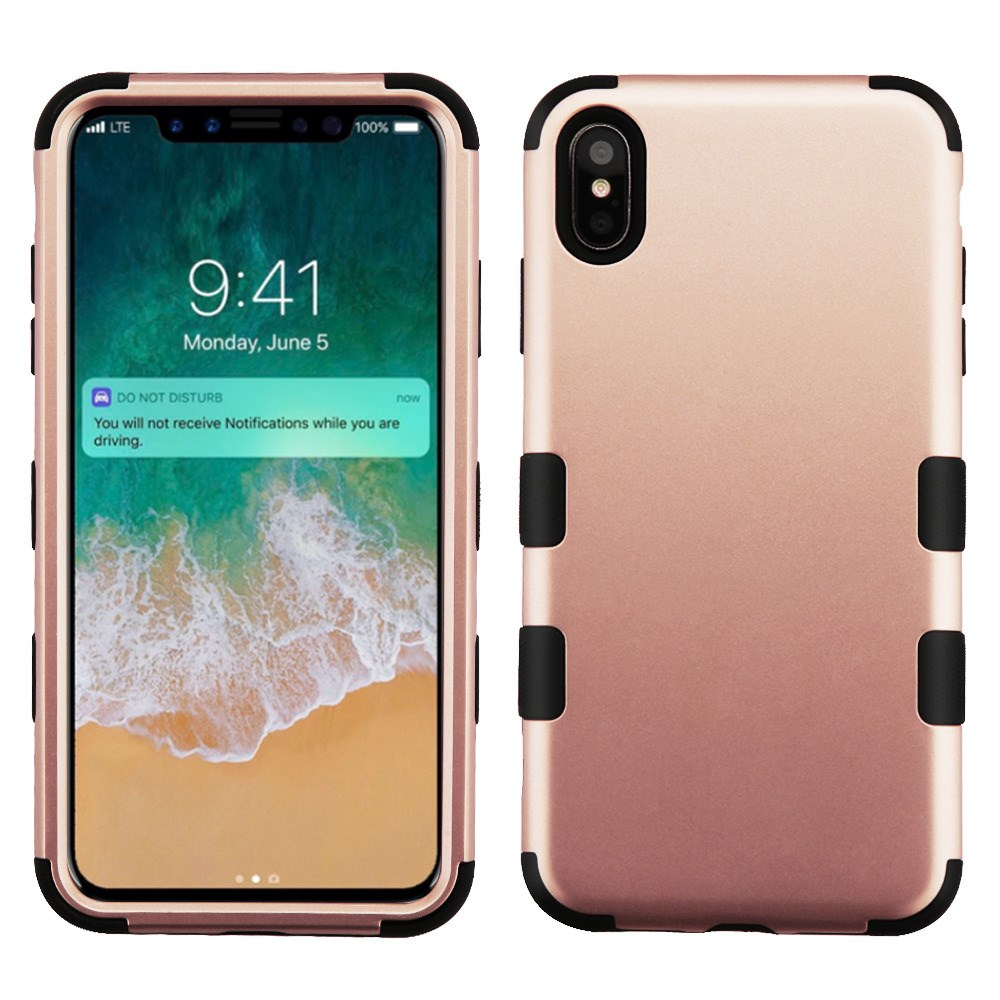 TUFF Hybrid (Military Grade Certified) Phone Protector Cover Case for iPhone XS MAX - Rose Gold/Black